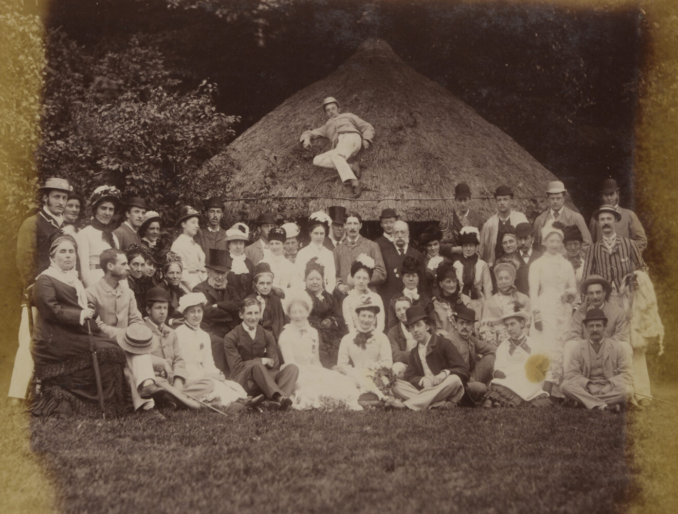 Group photograph including Oscar Wilde (front centre, in hat), Gertrude Ward (to Wilde's right), the diarist Florence Ward and others by Jules Guggenheim, 1876.